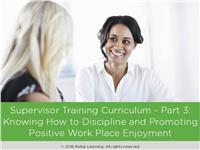 Supervisor Training Curriculum - Part 3: How to Discipline and Promote Positive Work Place Enjoyment